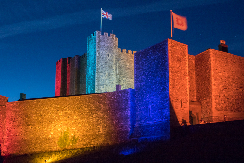 the great tower dover castle lit up